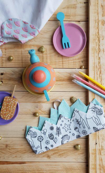 Couronne à colorier licorne turquoise