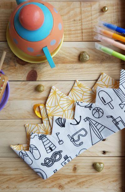couronne à colorier marin soleil origamique
