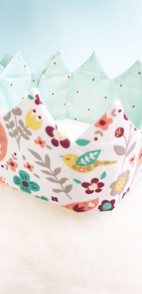 couronne enfant foret enchantée turquoise détail