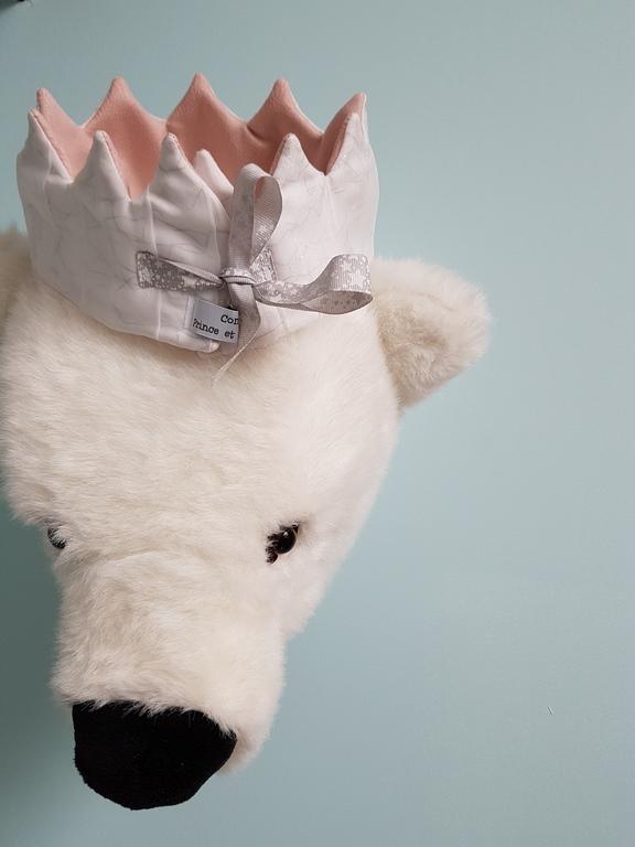 Couronne de déguisement pour enfant en suédine rose pastel