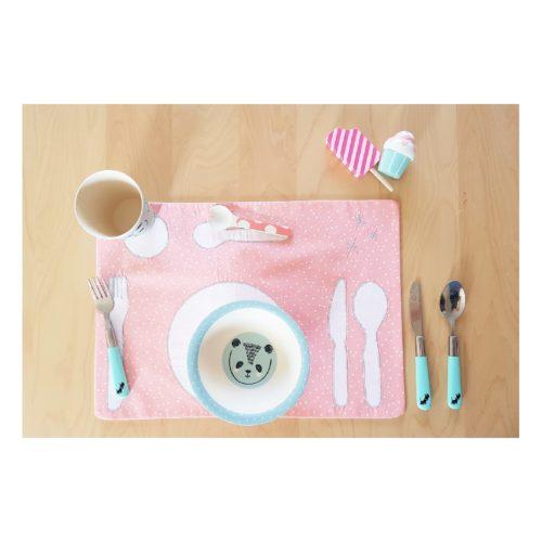 set de table montessori rose