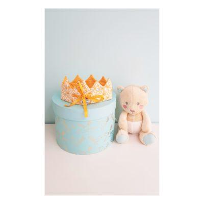 couronne bébé jaune origami